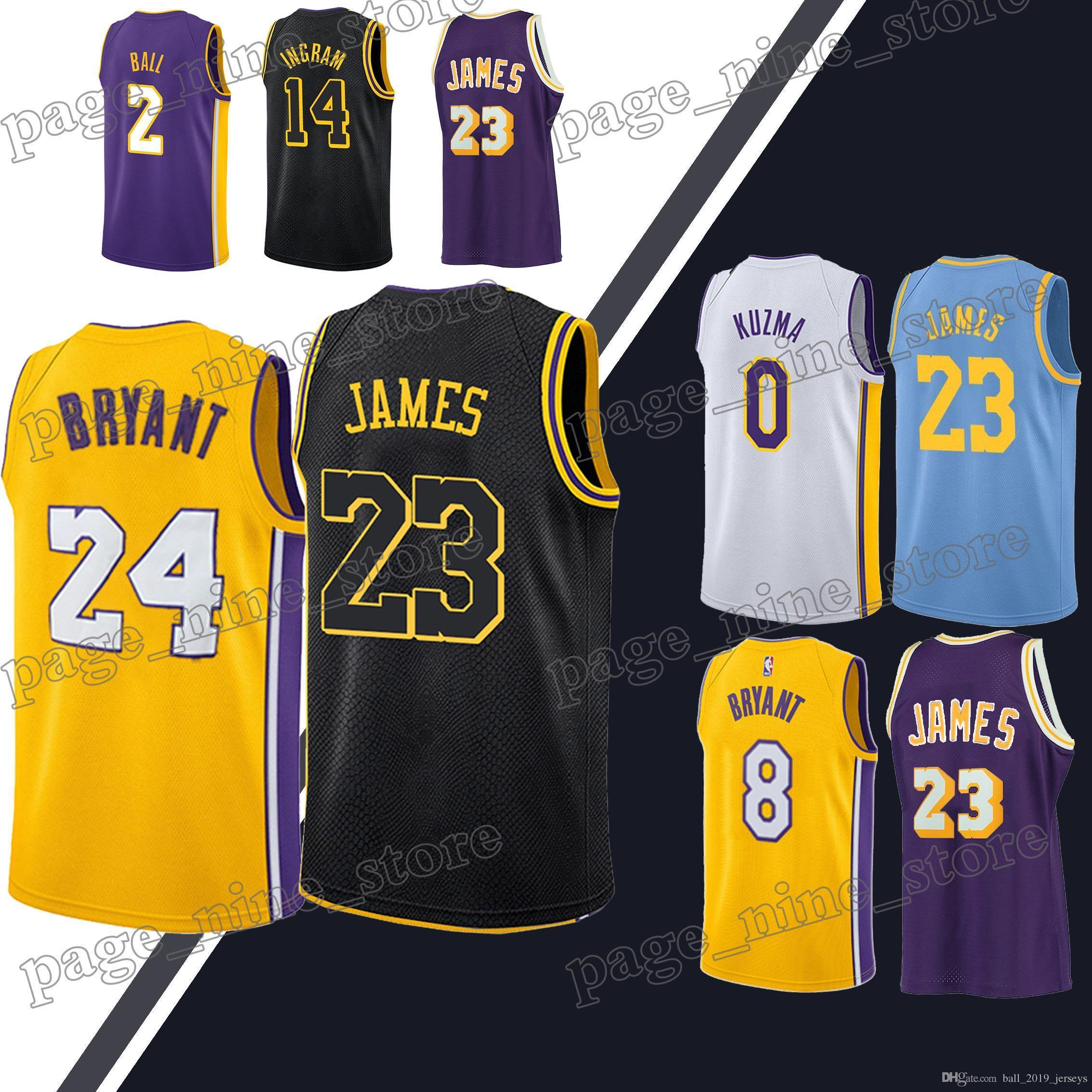detailed look 9ce72 ff2e3 Laker jerseys 23 LeBron James jersey 0 Kuzma 2 Ball 24 Bryant jerseys 2019  men basketball