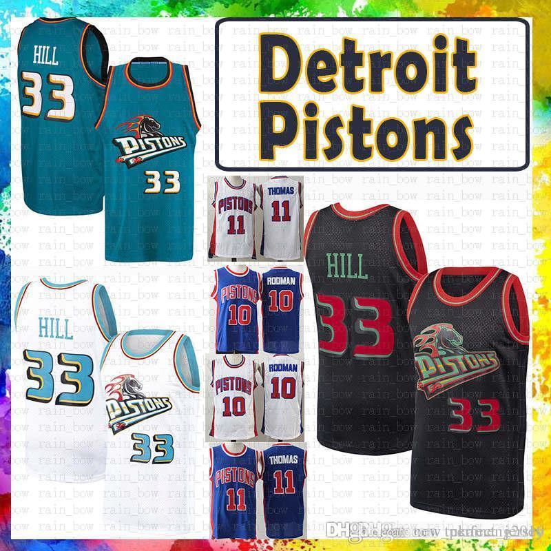 99093465251 2019 Mens Detroint Jersey Pistons 33 Grant   Hill 11 Isiah   Thomas 10  Dennis   Rodman Mesh Retro Basketball Jerseys Size S Xxl From Tukameng2016