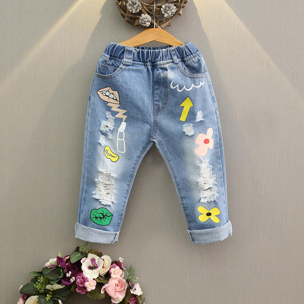 9cca0d00cfc Children's wear 2019 spring and autumn girls cartoon printed cartoon jeans  Korean version of children's stovepipe pants Free shipping