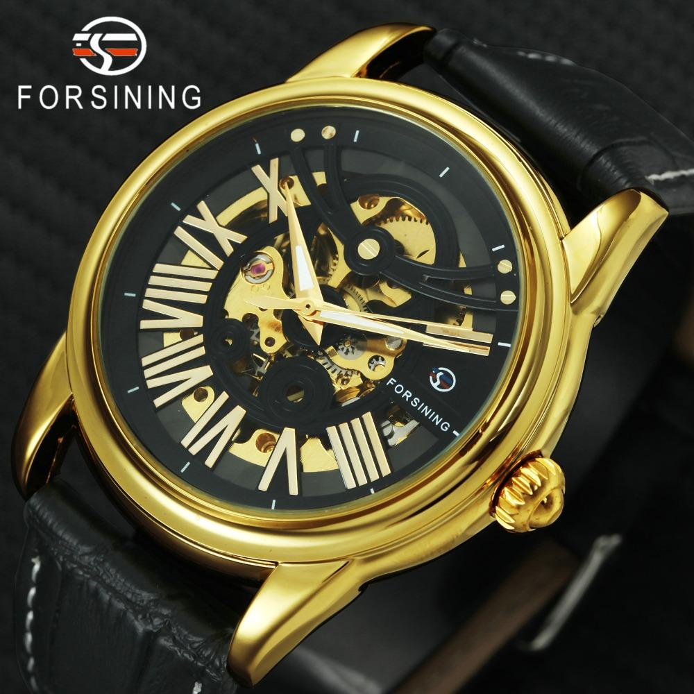 FORSINING Top Brand Luxury Retro Classic Mechanical Watch Men Leather Strap Skeleton Creative Automatic Wristwatches for Man