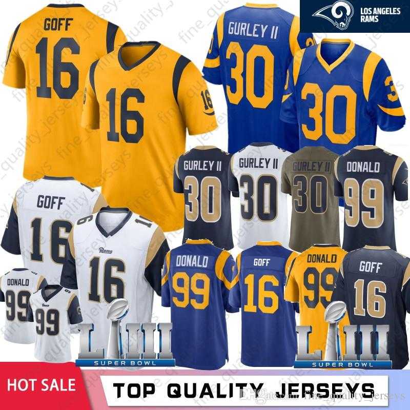 on sale ffee3 7db82 Limited 16 Jared Goff 30 Todd Gurley Los Angeles Rams jerseys 99 Aaron  Donald 2019 Super Bowl LIII Football Jerseys Embroidery Logos