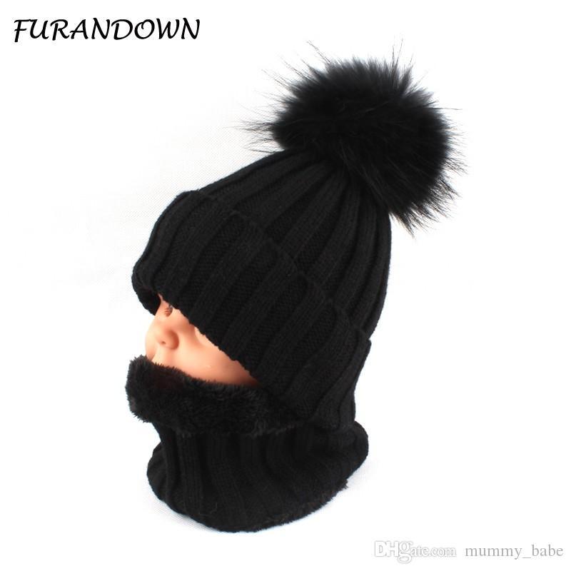 1cf58bdbb88 2019 Kids Boys Girls Warm Fleece Liner Beanie Hat With Scarf Winter Fur Hats  For Children Baby Pompom Skullies Beanies From Mummy babe