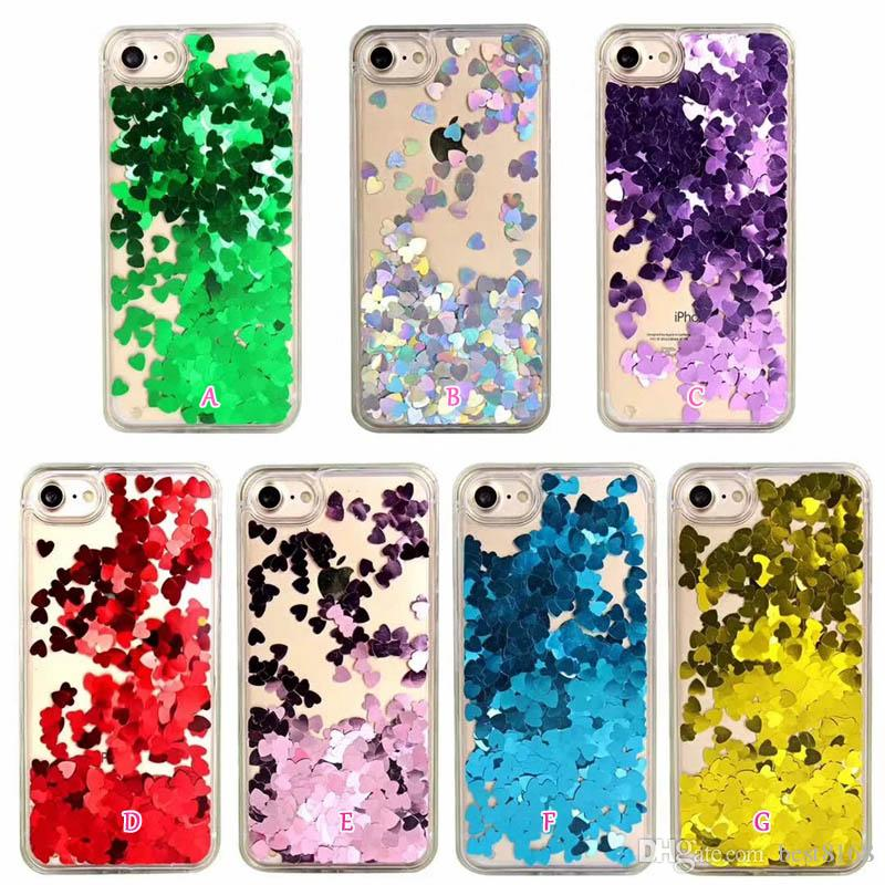 Heart Love Liquid Case For Iphone 11 Pro MAX XS XR X 8 7 6 Hard PC+TPU Quicksand Bling Oil Luxury Transparent Fashion Colorful Phone Covers