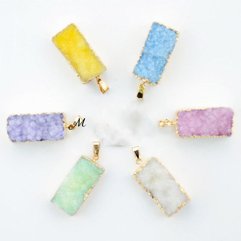 Classic European Gold Color Jewelry for Women Colorful Drusy Druzy Natural Crystal rectangle Stone pendant for diy Necklace