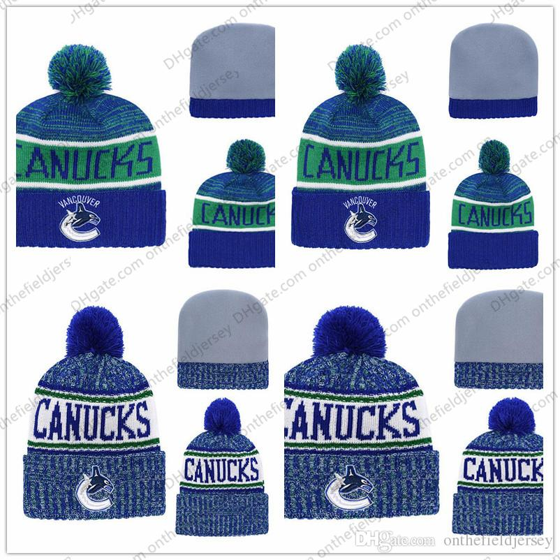 2019 Men S Vancouver Canucks Ice Hockey Knit Beanie Embroidery Adjustable  Hat Embroidered Snapback Caps Black Blue Green White Stitched Knit Hat From  ... e31993a42e06