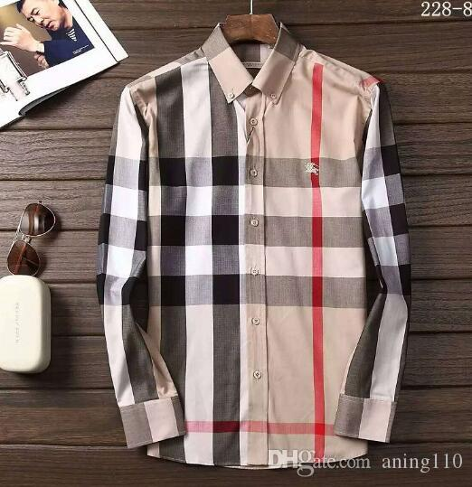 Newest Fashion Autumn Mens Shirt Candy Slim Fit Luxury Casual Stylish Dress Shirts Colours Plus Sizes M-3XL =111