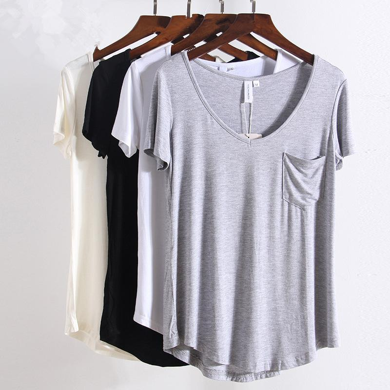 New S-4xl Plus Size Fashion All Match V Neck Short Sleeve T-shirts Women Summer Loose Basic T Shirt European Style Tops Tee 1408 S19715