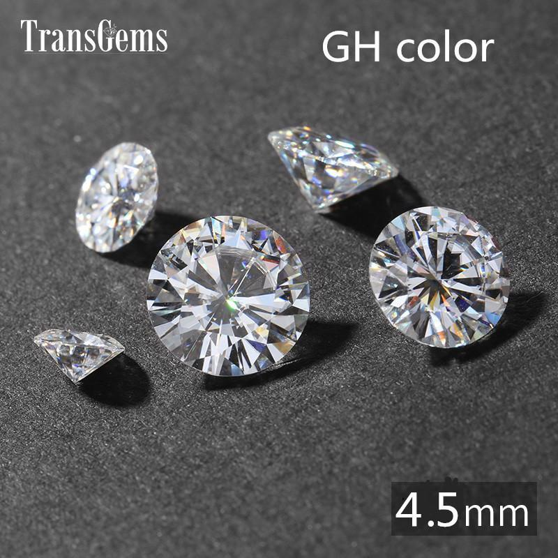 TransGems 0.4ct Carat 4.5mm GH Colorless Round Brilliant Cut Lab Grown Moissanite Diamond Test Postive as Real Diamond