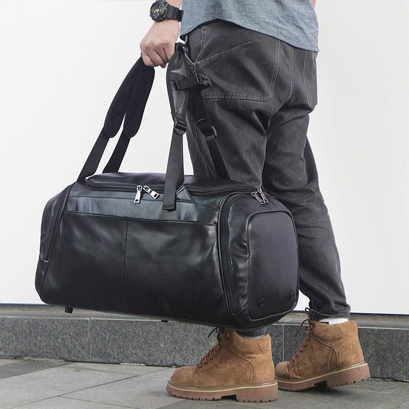 b8114a1d42c3 Lightweight Oversized Leather Travel Duffel Bag Luggage Backpack, Carry on  Bag Weekender bag for Men & Women