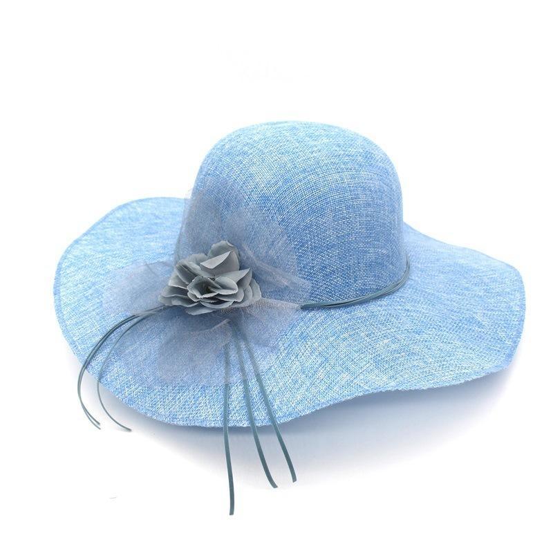 Compre 2018 De Ala Ancha De Playa Sombreros De Sol De Verano Para Las  Mujeres Cambric Chapeu Feminino Organza Flor De Cuero De Imitación Bowknot  Corbata ... 7f7747ad967