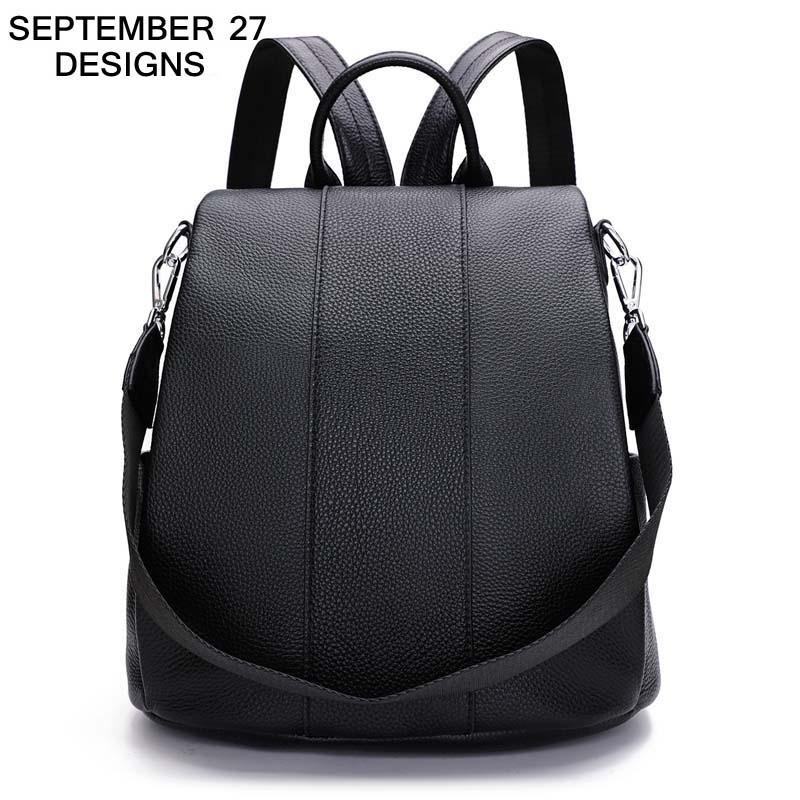 a48a91972c69 Real Cowhide Leather Women Anti Theft Backpack Black Fashion Girls Shoulder  Bags Female Travel Casual Bag Lady Rucksack Popular Leather Backpack Laptop  ...