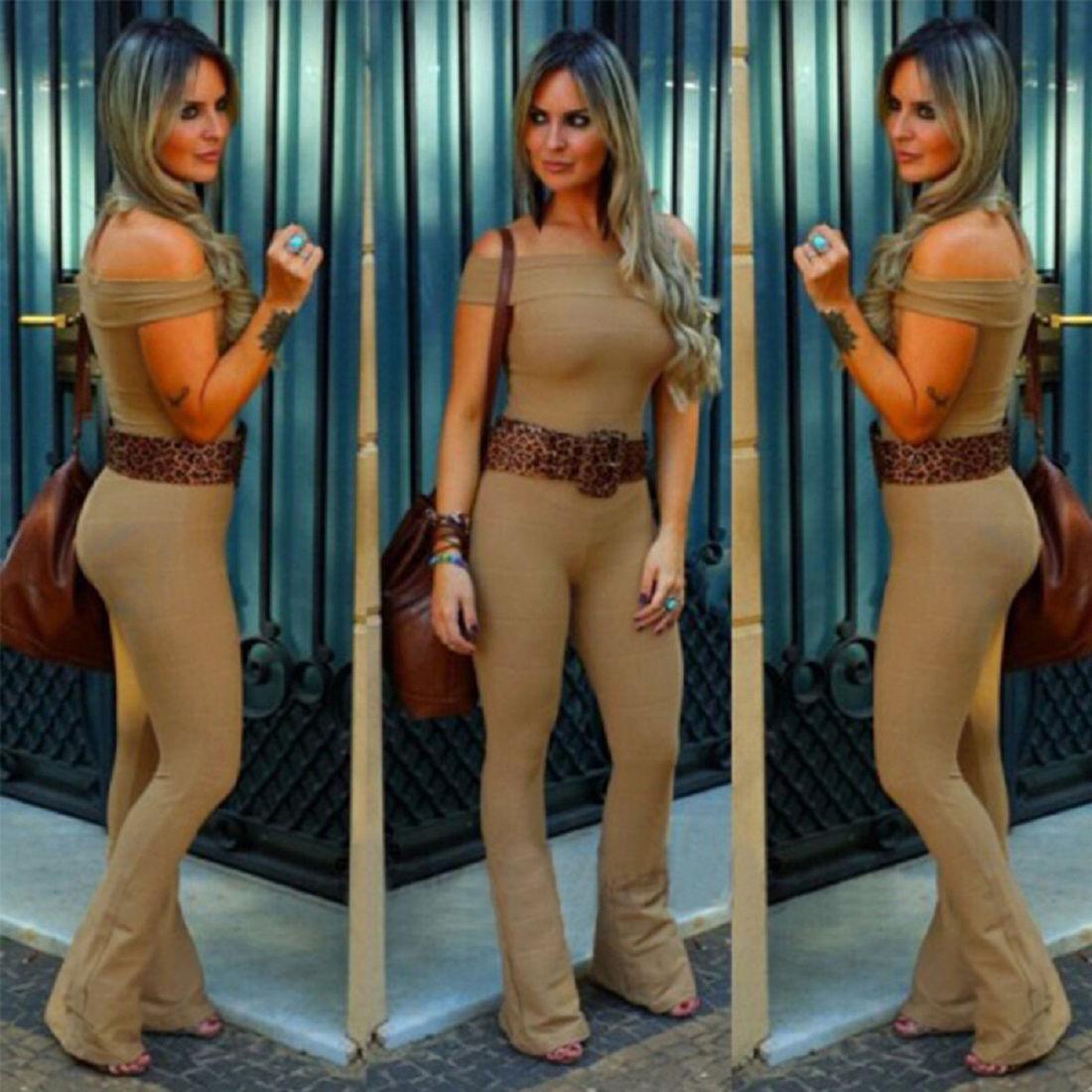 2016 XL nuovo di marca signore eleganti aderente tuta pagliaccetto pantaloni pantaloni più modo di formato solido estate tuta Donne