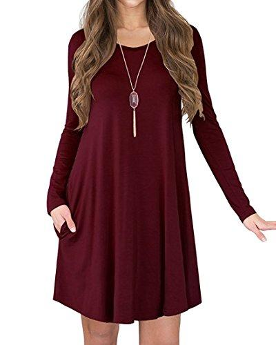 a9f51ccd0c8d POSESHE Women s Long Sleeve Pocket Casual Loose T-Shirt Dress POSESHE  Women s Long Sleeve Casual Loose P3011-Wine Red-S Online with  34.72 Piece  on Beke s ...