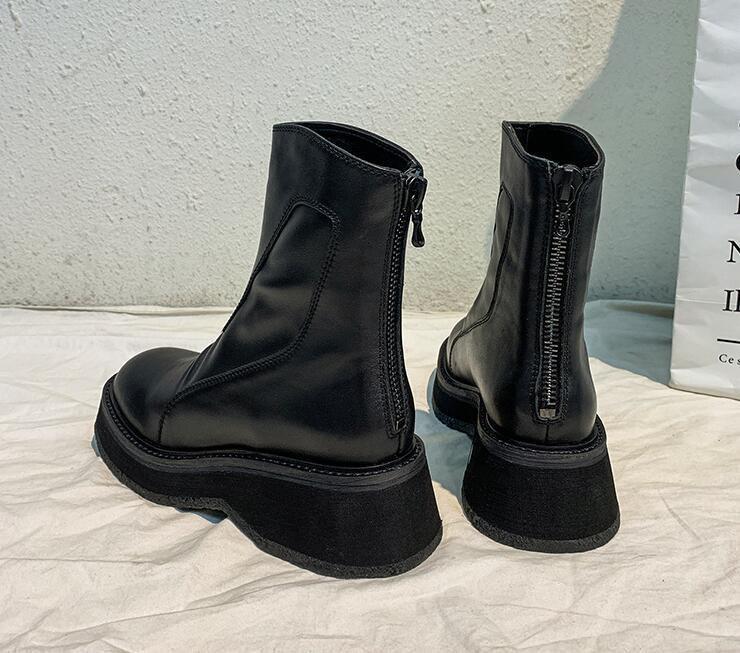 Designer Women wedge Heighten Boots Black platform Martin Boots Genuine Leather round Toes zip luxury England style Lady Fashion Ankle Boot
