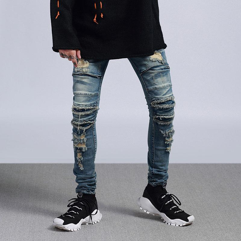 Street Pant Men Denim High Streetwear Hole 2018 Punk Male Fashion qgAEwC77