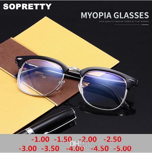 5455edc313 Compre 1.0 1.5 2.0 2.5 3.0 3.5 ~ 5.0 Miopía Gafas Ópticas Con Memoria De  Medio Fotograma Gafas Terminadas Hombres Mujeres Lentes Miopes A $4.07 Del  ...