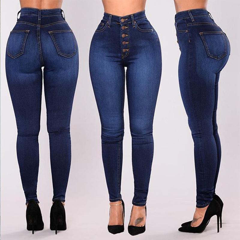 f67fc5ba1f Compre Pantalones Vaqueros De Cintura Alta De Otoño De Las Mujeres 2018  Mujer Pantalones Lápiz De Invierno Dama Elástico Elástico Denim Flacos  Pantalones ...