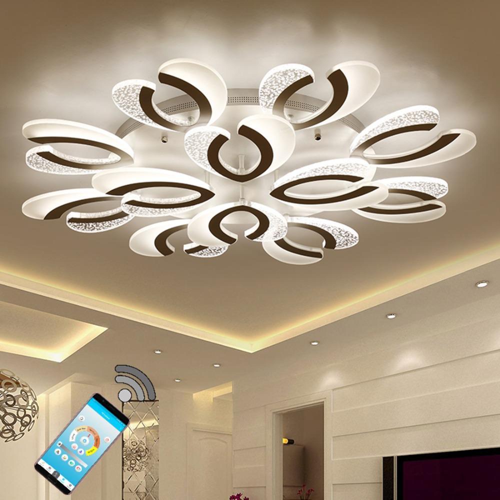 Compre candelabro de techo moderno blanco material de creatividad led acr lico iluminaci n de la - Candelabros modernos ...