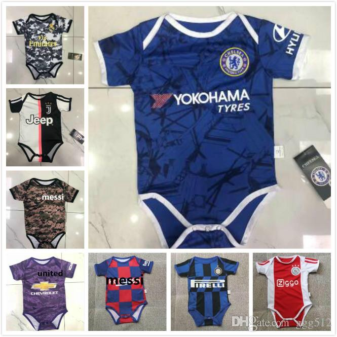 new style e43c5 8377e 2019 2020 Ajax Baby soccer Jersey Juventus 19 20 MESSI Ball Infant Squad  Bodysuit 19 20 Real Madrid HAZARD 6-18 maillots de foot