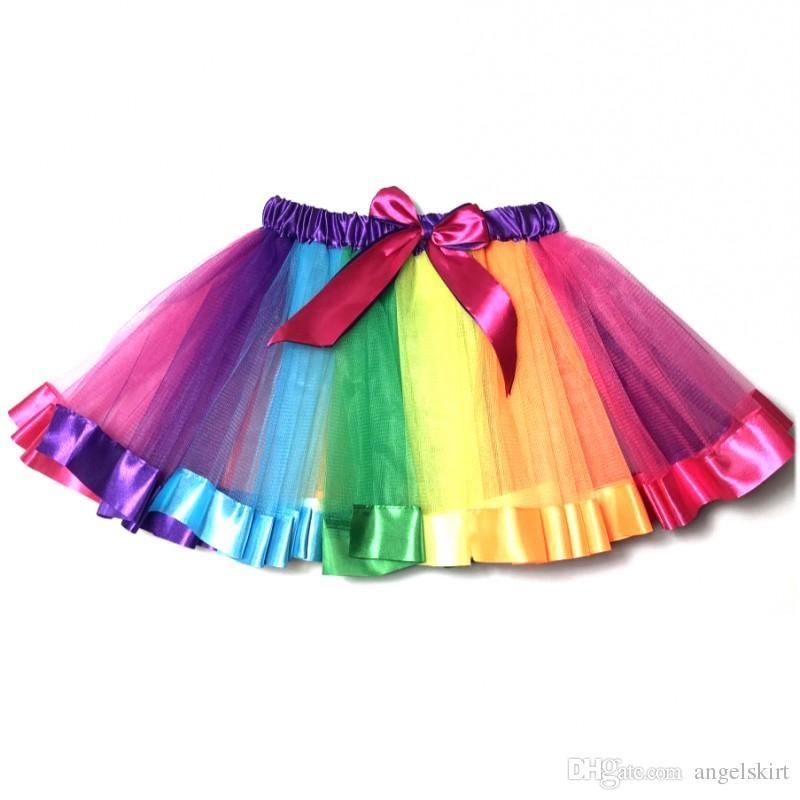 77641bf8c Remake de fabrica para niñas, vestido de tul esponjoso Rainbow Ballet Skirt  Tutu con lazos de cinta para niñas pequeñas