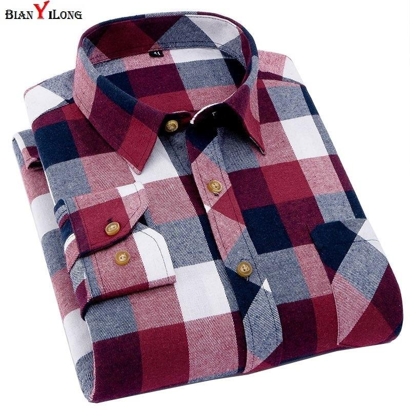Men's Plaid Flannel Shirt Slim Fit Soft Spring Male Shirt Brand Men's Business Casual Long-sleeved Shirts Plus Size 5xl 6xl SH190628