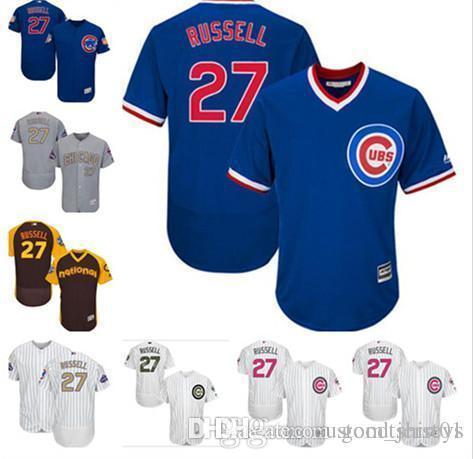 85a989fb0c8 2019 Custom Men Women Youth Majestic Cubs Jersey  27 Addison Russell ...