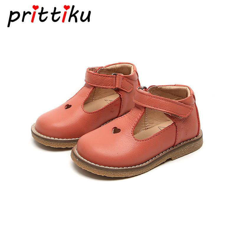 Spring 2018 Baby Toddler Girls Vintage T-strap Flats Little Kids Genuine Leather Mary Jane Children Pink White Black Dress Shoes Y19061906
