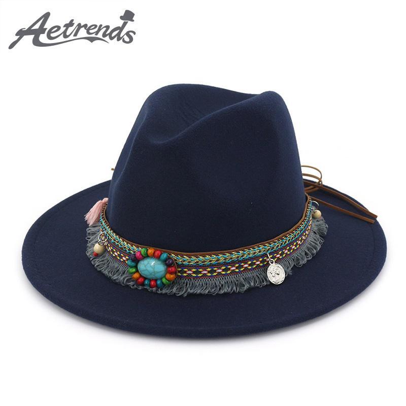c93bf912e23 AETRENDS2019 New Women Bohemia Wide Brim Fedoras Ladies Jazz Hat ...