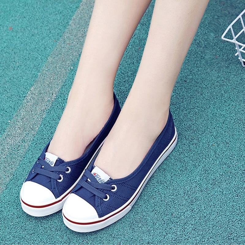 da2cd4bff0b5e4 Shallow Flat Women Sneakers Comfortable New Summer Casual Canvas ...