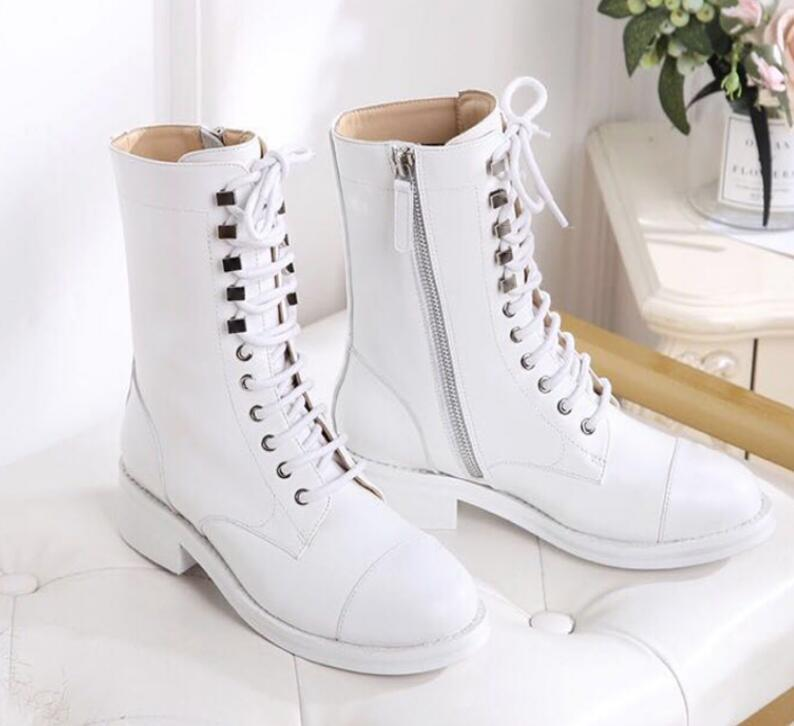 Hot Sale- spring fall womens Ladies black white REAL Leather design LACE UP flat Rubber sole cap toe Military Combat biker BOOTS