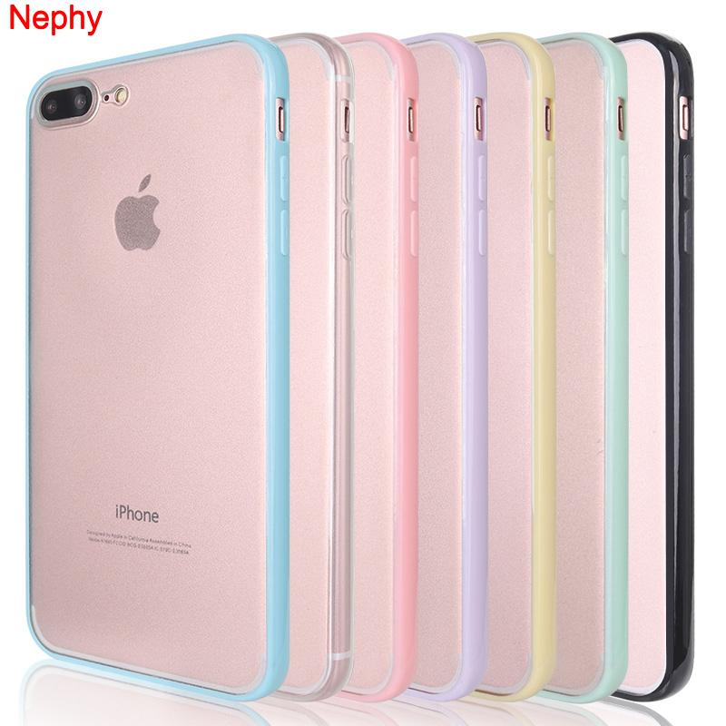 official photos bf33f 8e14f Nephy Colors Hard Bumper Clear Silicone Case For iPhone 6s 6 s 5s 5 SE X 7  8 Plus 6Plus 6sPlus 7Plus 8Plus Cell Phone Back Cover