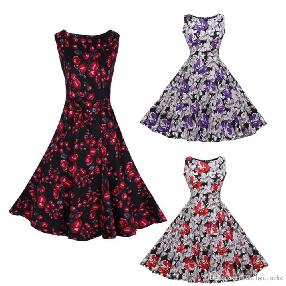 c7f9e6de304b Hot Brand S-3XL Women Dress Retro Vintage 1950s 60s Rockabilly ...