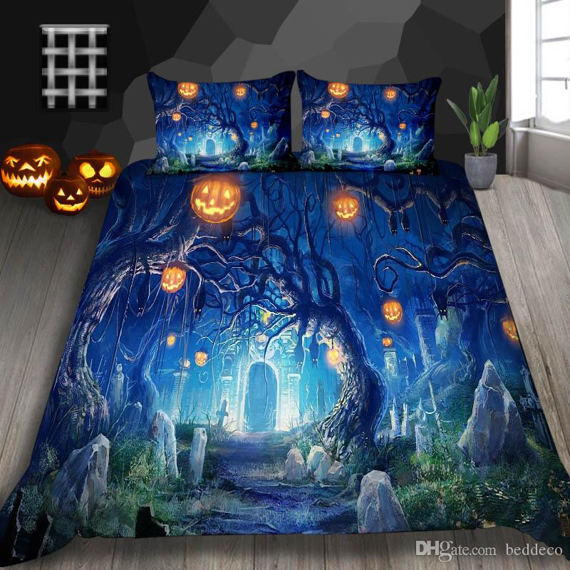 Hot Selling Bedding Set Halloween King Magic Forest Print Duvet Cover Queen Fashion Single Twin Full Double Bed Cover with Pillowcase 3pcs