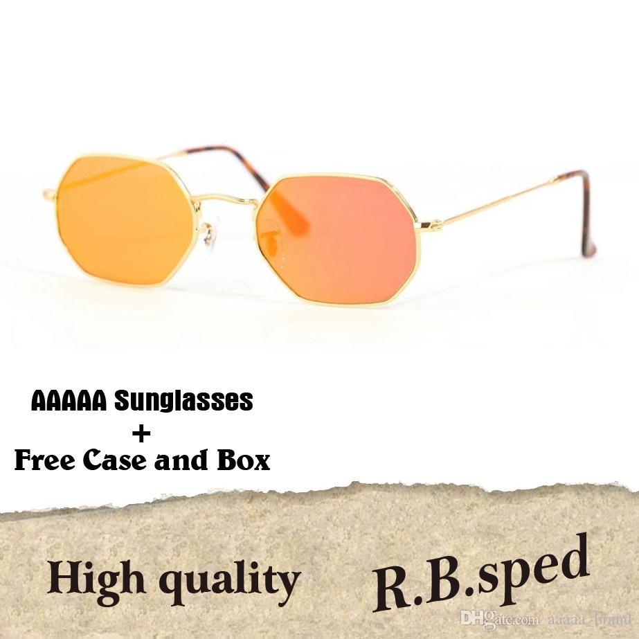 12b1f13c80 Excellent Quality Octagonal Sunglasses For Men Women Brand Designer Metal  Frame Glass Lenses Retro Sun Glasses With Cases And Box Sunglasses Shop  Bolle ...