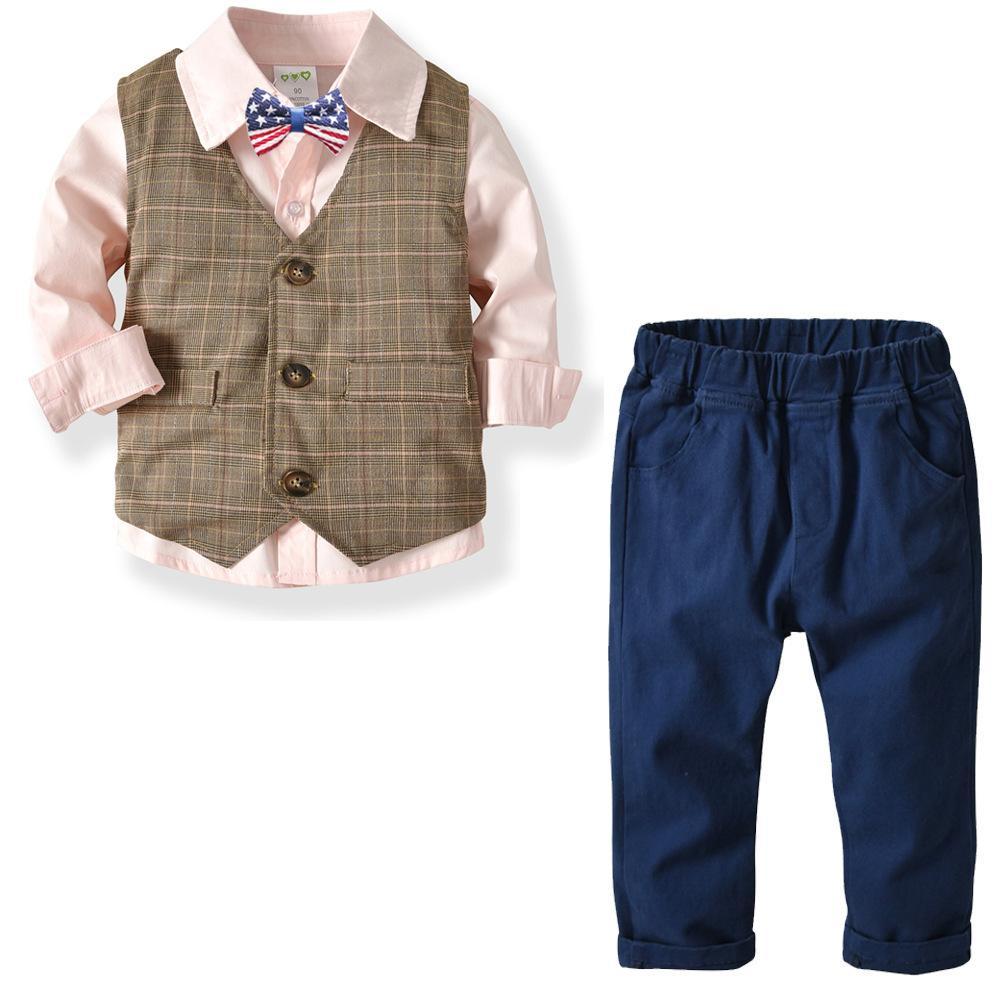 822e8d3b7558 Compre Chicos Conjuntos De Ropa Formal Primavera Otoño Camisa + Chaleco +  Pantalones 3 Piezas Bebé Niños Ropa De Boda Niños Boy Caballero Ocio Traje  A ...
