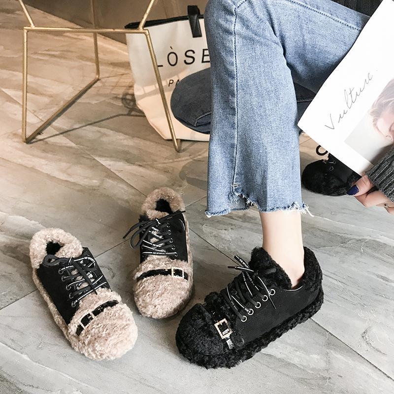 242c7410 Compre Comercio Al Por Mayor De Piel De Cordero De Imitación Zapatos De  Invierno De Las Mujeres De Cristal Mocasines De Felpa Pisos Zapatos  Casuales Mujer ...