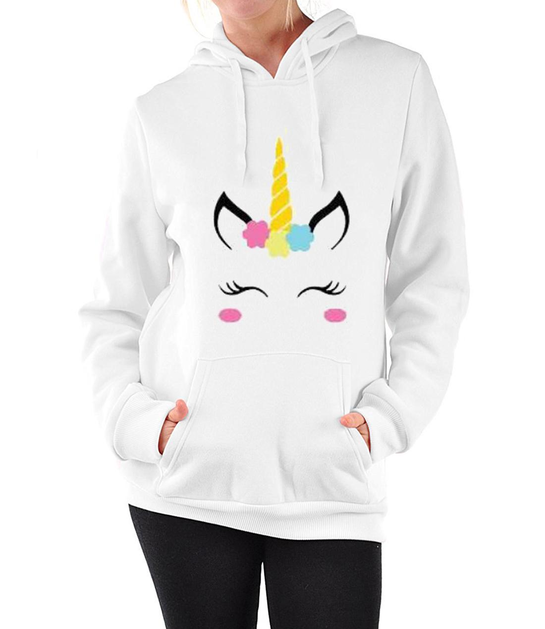 2019 Spirng New Fashion Hoodie Women New Unicorn Pattern Print Hooded Loose Long Sleeve White Sweatshirt Size S-XL