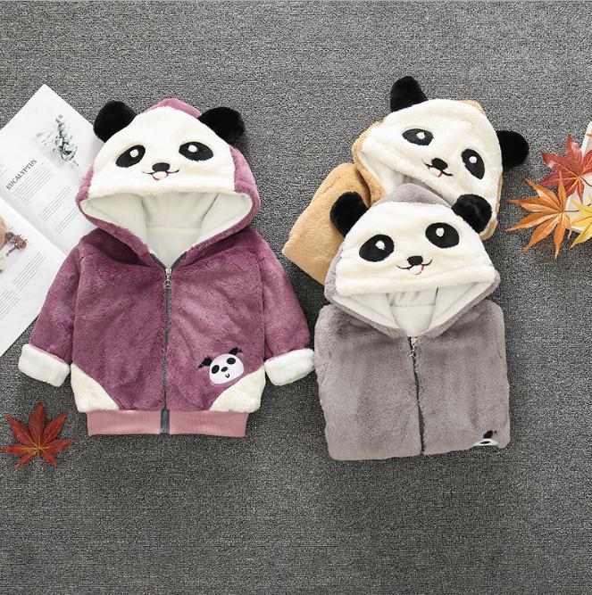13e9c3c6b Kids Boys Girls Panda Hooded Jacket Thicken Velvet Warm Winter ...