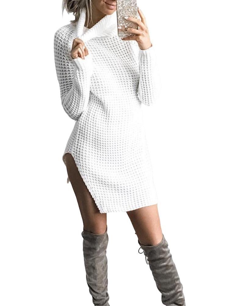 85bb273144 Compre Otoño Invierno Mujer Vestidos De Punto Side Split Cuello Alto Vestido  De Punto Vestidos De Manga Larga Vestido De Suéter Negro   Blanco   Camel  ...