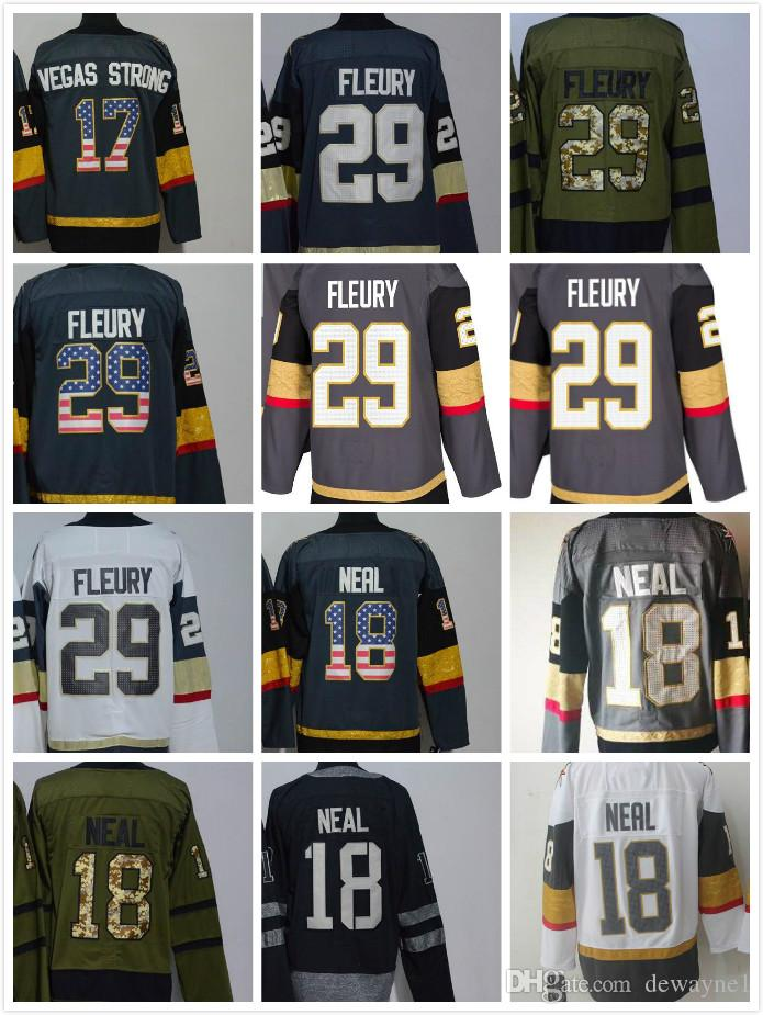 low priced 09740 fa6f3 2019 New Vegas Golden Knights 18 James Neal 29 Marc-Andre Fleury 17 Vegas  Strong black Hockey Jersey for mendrop shipping