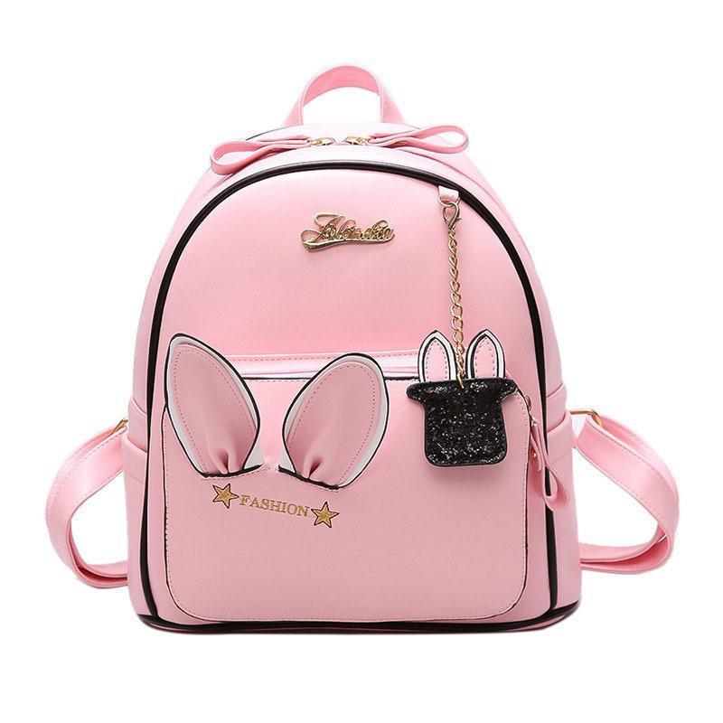 Teenage Girl Backpacks Pink Cute Schoolbags Casual Pu Womens Bag 2018 Vintage Female Travel Bags Soft Leather Shopping Bags Great Varieties Women's Bags