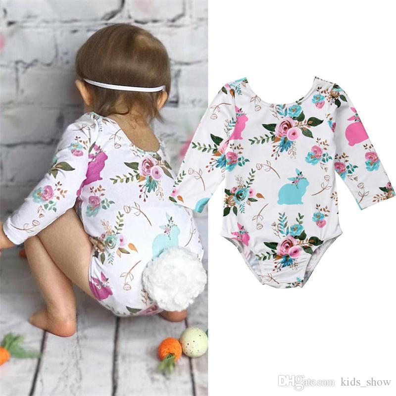 270615e4eaa9 2019 Cute Baby Girls Wreath Bunny Rabbit Rompers With Pom Pom Tail ...