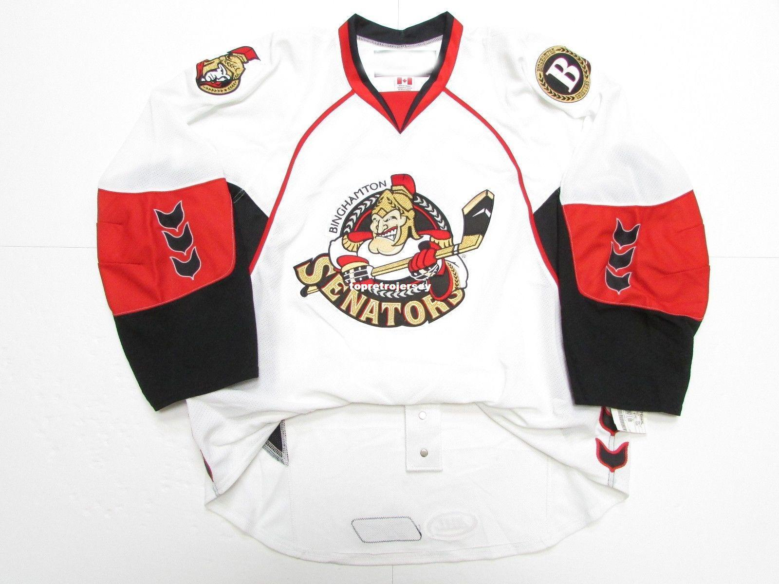 Cheap custom BINGHAMTON SENATORS AHL WHITE JERSEY stitch add any number any name Mens Hockey Jersey XS-6XL