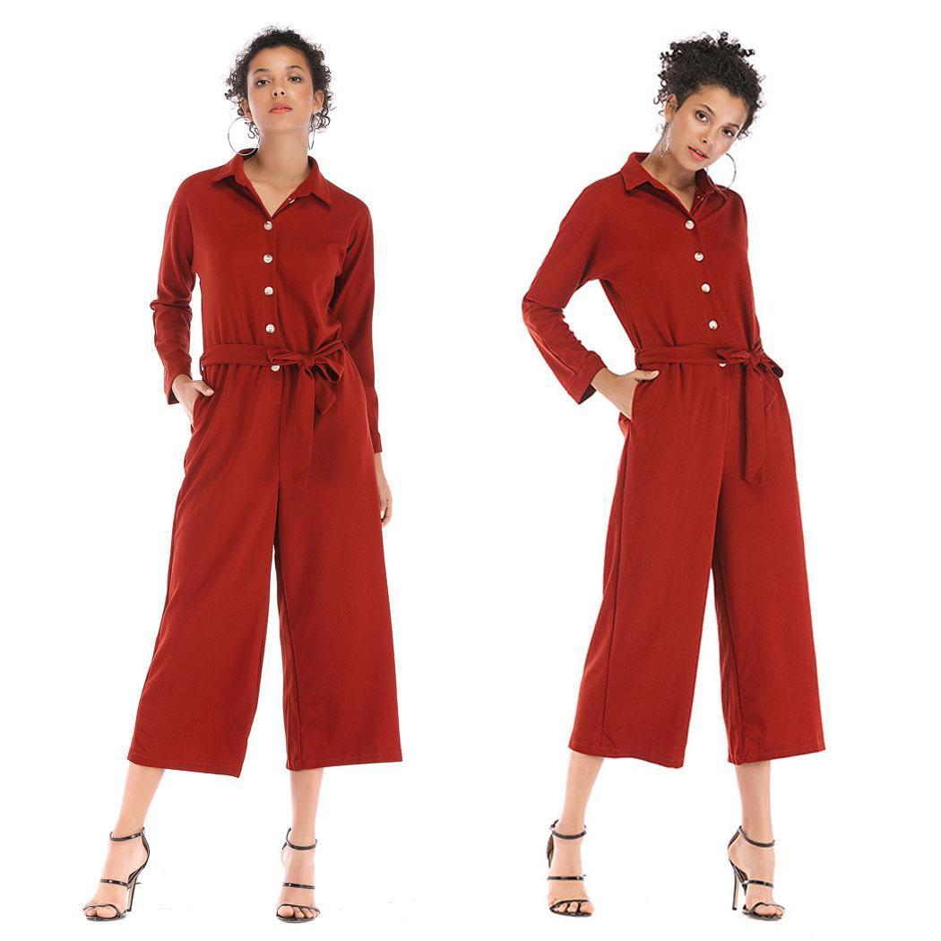 Fashion Women Fashion Casual Solid Long Sleeve Loose Wide Legs Jumpsuits New Fashion Siamese Clothing/Basket