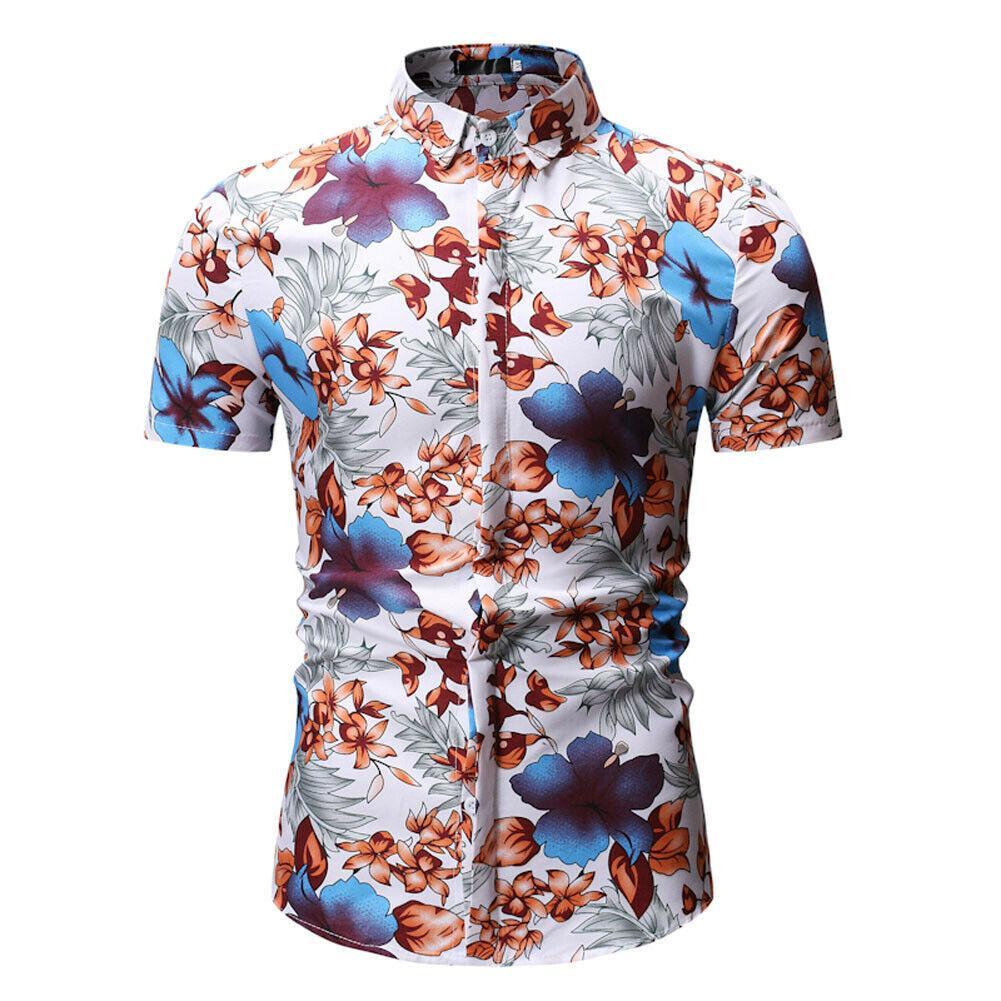 e07c906e4656 New Luxury Fashion Men's Slim Fit Shirt Short Sleeve Stylish Dress Shirts  Casual Shirt Tops Blue Red