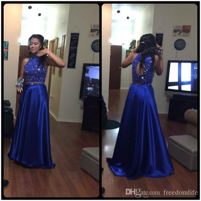 554add07532ff1 Bling Royal Blue Sequined Prom Dresses 2019 Beaded Backless Graduation Gowns  Beads Crop Top High Neck Satin Formal Evening Party Dresses Bohemian Prom  ...