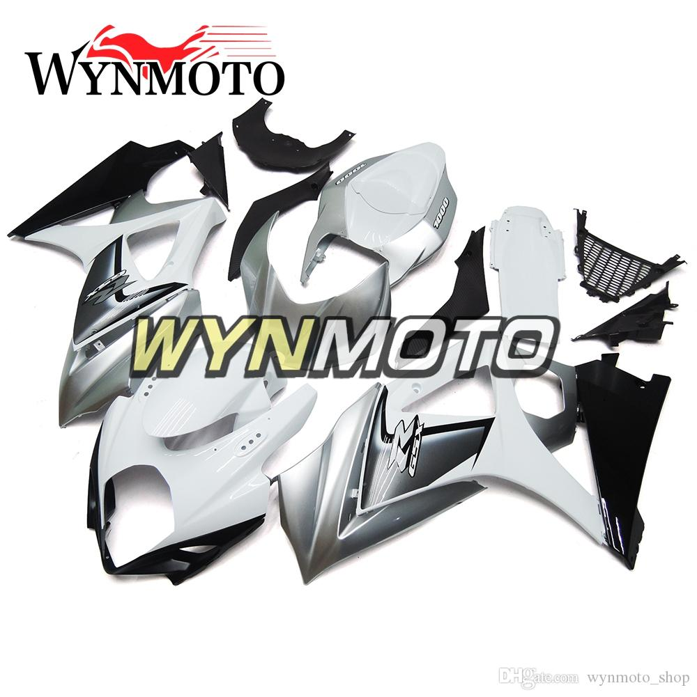 Motorcycle Fairings For Suzuki GSXR1000 K7 2007 2008 ABS Plastic Injection White Silver Kits Carenes Covers motorbike Covers cowlings