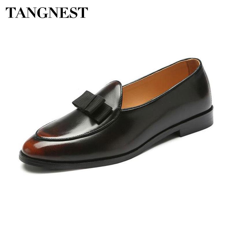 26d641d1dd0e3 Tangnest Vintage Patent Leather Oxfords Shoes For Men British Style Slip-on  Dress Flats Fashion Bowtie Formal Shoes Man XMP867