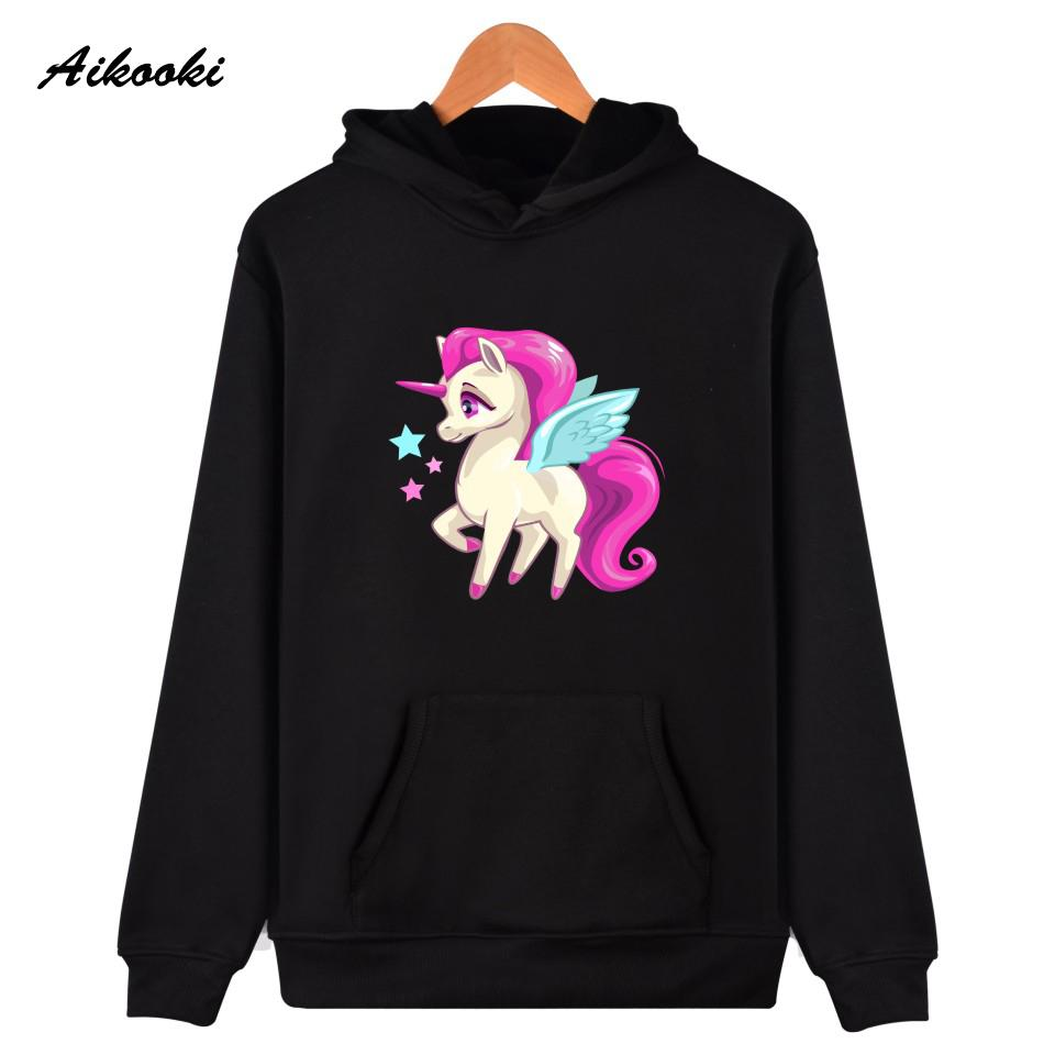 ad7610af314f3 Printed Unicorn Pullover Womens Sweatshirts Hip-hop Street Casual Men's  Wear Hooded Sportswear funny cute cartoon print Pullover