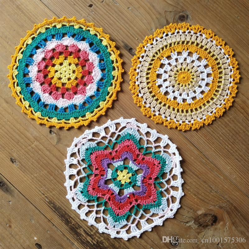 Lot of 12 pcs 3 Design ~ Lace doily Size:16-17cm Hand Crochet mandala pattern Colorful doily Table centerpiece Coaster Tablecloth Y3W9933